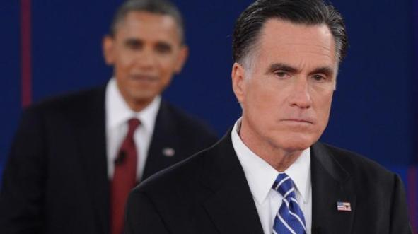 Reação desoladora de Mitt Romney depois que Obama politizou o debate.